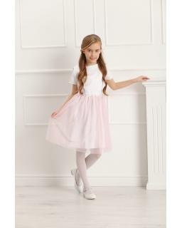 Dziewczęca sukienka z krótkim rękawem 128-158 Charlotte różowa 1