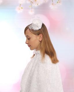Duży stroik na grzebyku dla dziewczynki SN198 biały