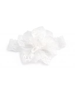 Opaska do chrztu z koronkowym kwiatem