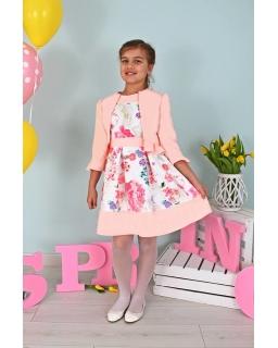 7d23db07e0 Sukienka i bolerko dla dziewczynki 122-158 Rosa brzoskwinia