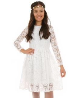 Sukienka z koronki dla dziewczynki 128-164 KRP220 biała