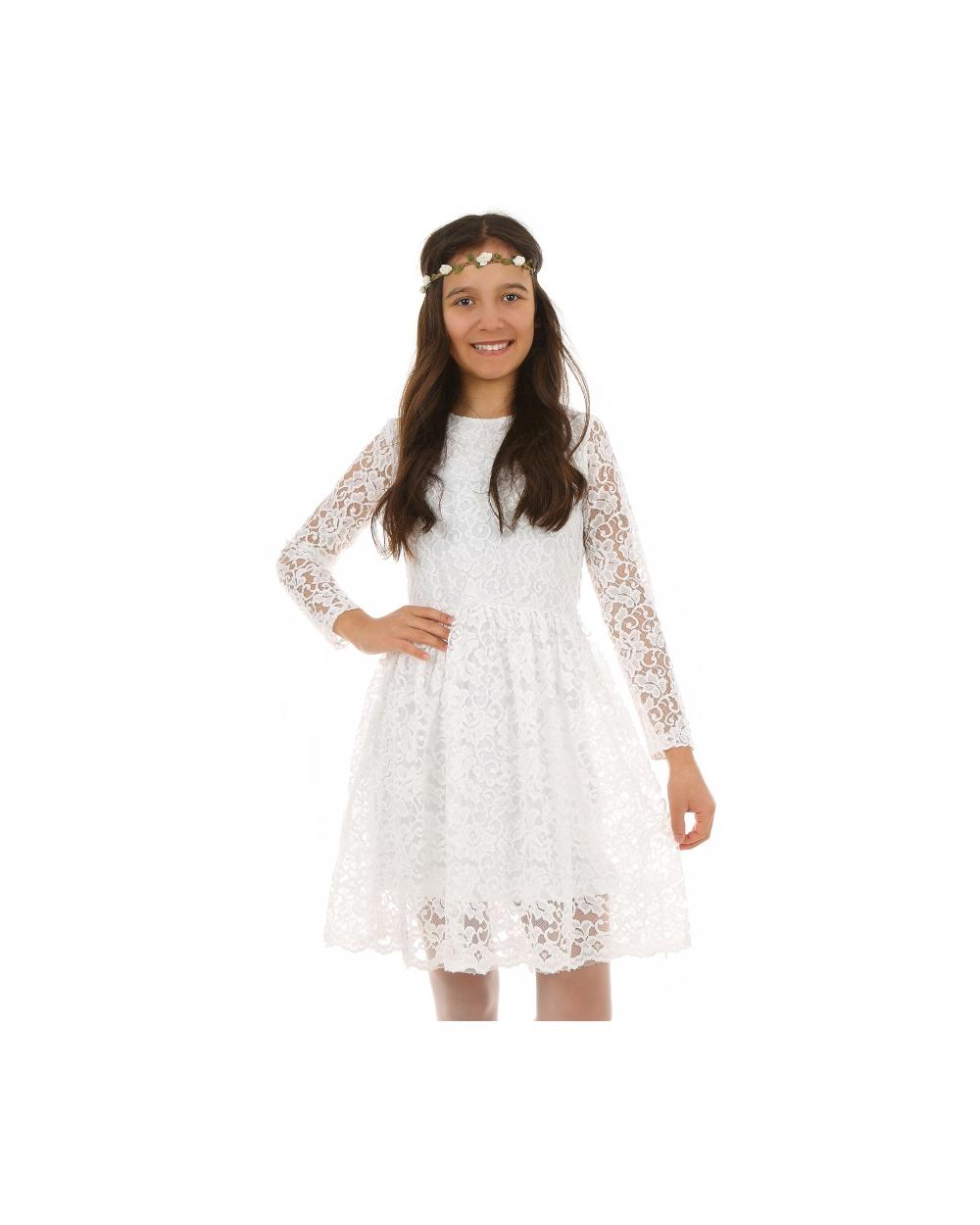 bd78f649c65c04 Sukienka z koronki dla dziewczynki 128-164 KRP220 biała