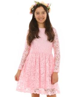 Koronkowa sukienka dla dziewczynki 128-164 KRP220 Różowa