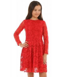 Sukienka z rękawkiem dla dziewczynki 128-164 KRP220 czerwona