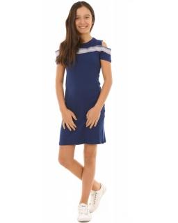Sportowa sukienkaz lampasem 134-164 KRP221 granatowa