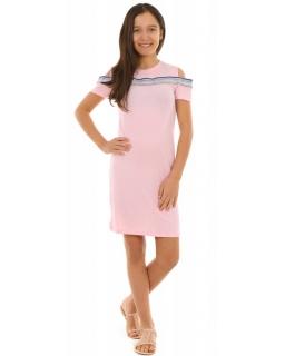 Sukienka z kolorowym lampasem 134-164 KRP221 różowa