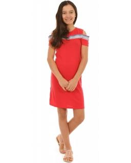 Dziewczęca hiszpanka z lampasem 134-164 KRP221 czerwona