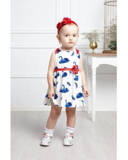 Sukienka w łabędzie 80-116 Balbina biało-niebieska