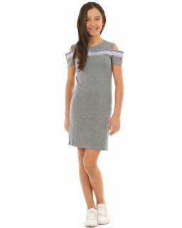 Sukienka z kolorowym lampasem 134-164 KRP221szara