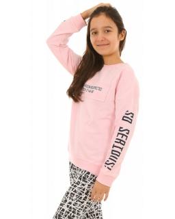 Bluza z modnymi napisami 134-164 KRP223 różowa