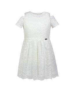 Sukienka z oryginalnym rękawkiem 122-152 Marcela kremowa