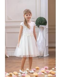 Dziewczęca sukienka z perełkami 128-158 W-90/viw ecru