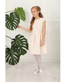Dziewczęca sukienka ze wzorkiem 134 -164 Sema pudrowy róż