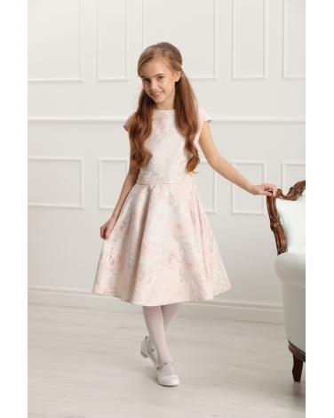 Sukienka z szarfą i kwiatowym wzorem 134-158 Ajsza jasnoróżowa
