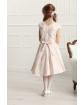 Sukienka z szarfą i kwiatowym wzorem 134-158 Ajsza jasnoróżowa 1