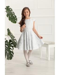 Sukienka z żakardowej tkaniny 134-158 Ajsza srebrna