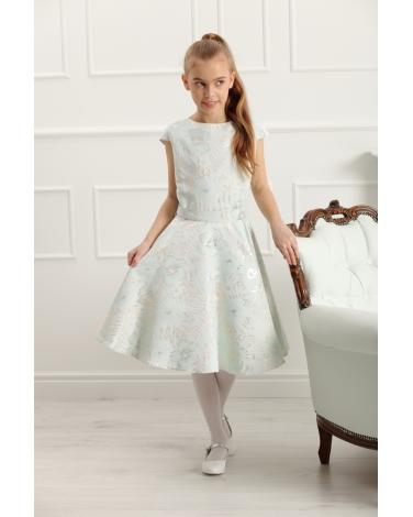 Sukienka ze wzorem w kwiaty 134-158 Ajsza turkusowa