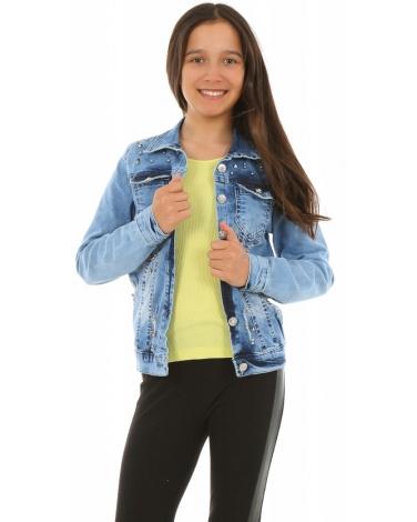 Jeansowa kurtka dla dziewczynki 128-158 KRP225 Niebieska