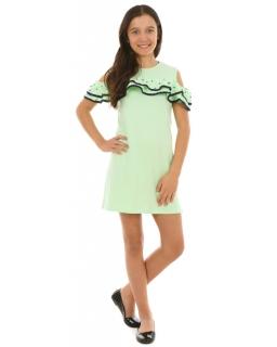 Sportowa sukienka z perełkami 128-164 KRP224 pistacjowy