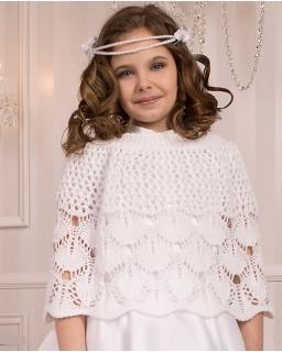 Polarowa narzutka komunijna dla dziewczynki PCB Muza biała