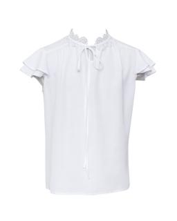 Biała bluzka dla dziewczynki z gipiurą 128-158 109/S/19 biała