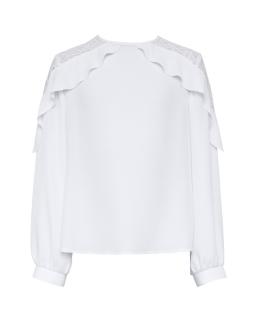 Dziewczęca bluzka z falbanką 134-164 108/S/19 biała