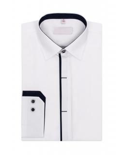 Biała koszula z granatowymi wstawkami 122-172 KS11