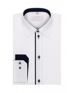Biała koszula z długim rękawem dla chłopca 116-172 KS08