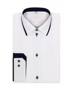 Biała koszula z granatowymi wstawkami 116-176 KS02