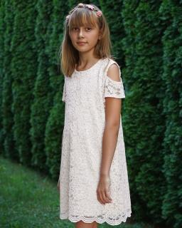 Sukienka z odkrytymi ramionami 122-164 Nadia ecru
