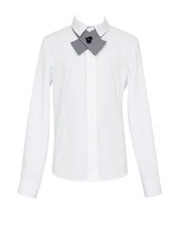 Koszulowa bluzka z krawatką 134-170 136/S/19 biała