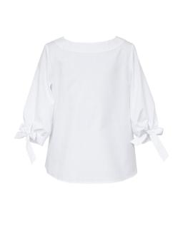Bluzka z wiązaniem przy rękawie 122-158 140/S/19 biała