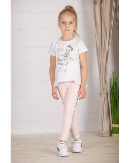 Dresowe spodnie z lampasem 116-152 G-303/viw różowe