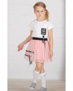 Tiulowa spódnica dziewczęca 104-152 S-40 pudrowy róż