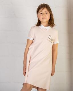 Prosta sukienka z napisem 128-158 P-145/viw pudrowy róż
