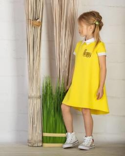 a6d51b78f3 Prosta sukienka z kołnierzem 128-158 P-145 viw żółta