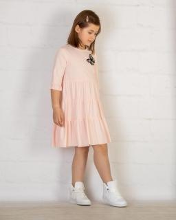 Luźna sukienka z falbanką 122-152 P-144/viw łososiowa
