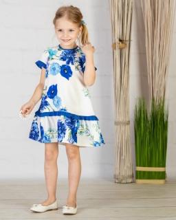 Kwiatowa sukienka 122-152 P-143/viw kremowo-niebieska