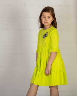 Sukienka oversize na lato 122-152 P-144/viw limonkowa