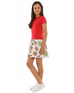 Sukienka z ciekawym printem 116-152 KRP233 czerwona