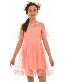 68060a797d Sukienka z tiulem i koronką 128-164 KRP235 morelowa