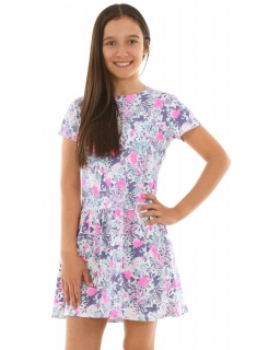 7ce14b4372 Rozkloszowana sukienka w kwiatki 116-158 KRP236 multikolor