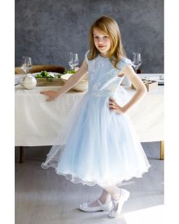 4949599e41 Długa balowa sukienka dla dziewczynki 134-158 Blanka niebieska