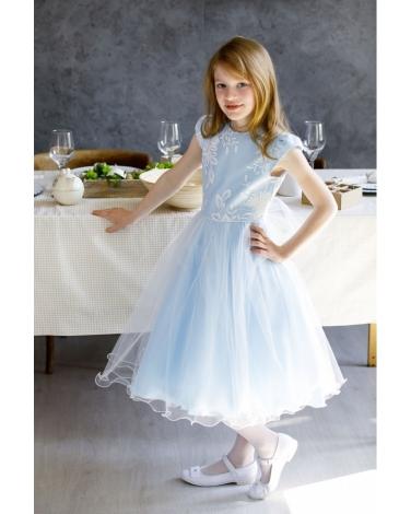 Długa balowa sukienka dla dziewczynki 134 158 Blanka niebieska