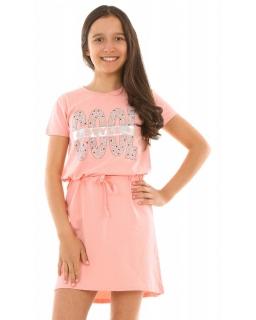 d65ae8ec1b Letnia sukienka z napisem 128-164 KRP244 morelowa