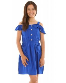 b288a13005 Sukienka na ramiączkach 128-164 KRP245 chabrowa