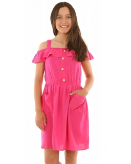 6d9e9e8f5a Dziewczęca sukienka z falbanką 128-164 KRP245 fuksja