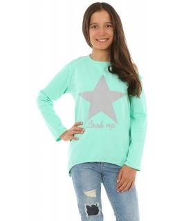 Bluza z gwiazdą dla dziewczynki 116-158 KRP250 miętowa