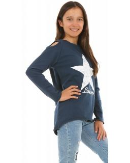 Sportowa bluza dla dziewczynki 116-158 KRP250 granatowa