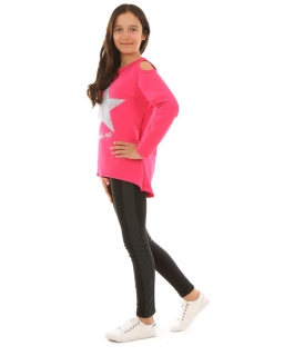 Bawełniana bluza dla dziewczynki 116-158 KRP250 fuksja